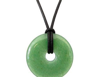 Chinese pi 30mm donut pendant necklace - aventurine