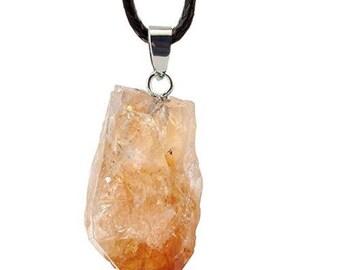 Silver plated raw stone - citrine pendant