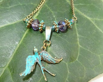 birds colombeen bronze verdigris patina and Crystal Necklace