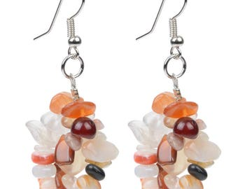 Earring stone carnelian and silver 952