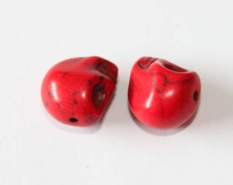 Skull Head, red, 12 mm, the pair
