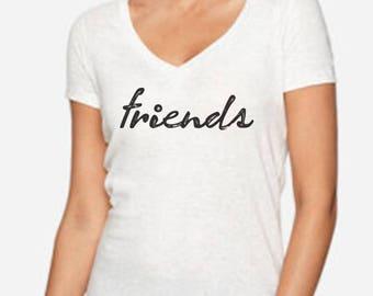 FRIENDS   Best Friends - Womens V-Neck Summer Tee Shirt