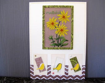 Painting of rudbeckias embroidered and yellow birds