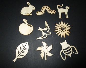 set of 9 wooden shapes nature animal figures