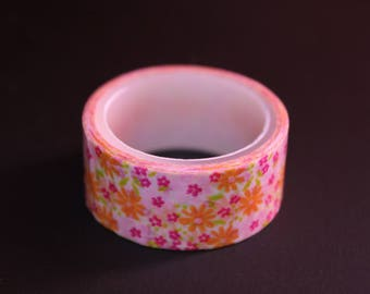 roll of masking tape 3 m floral pink