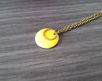 Necklace Double round yellow