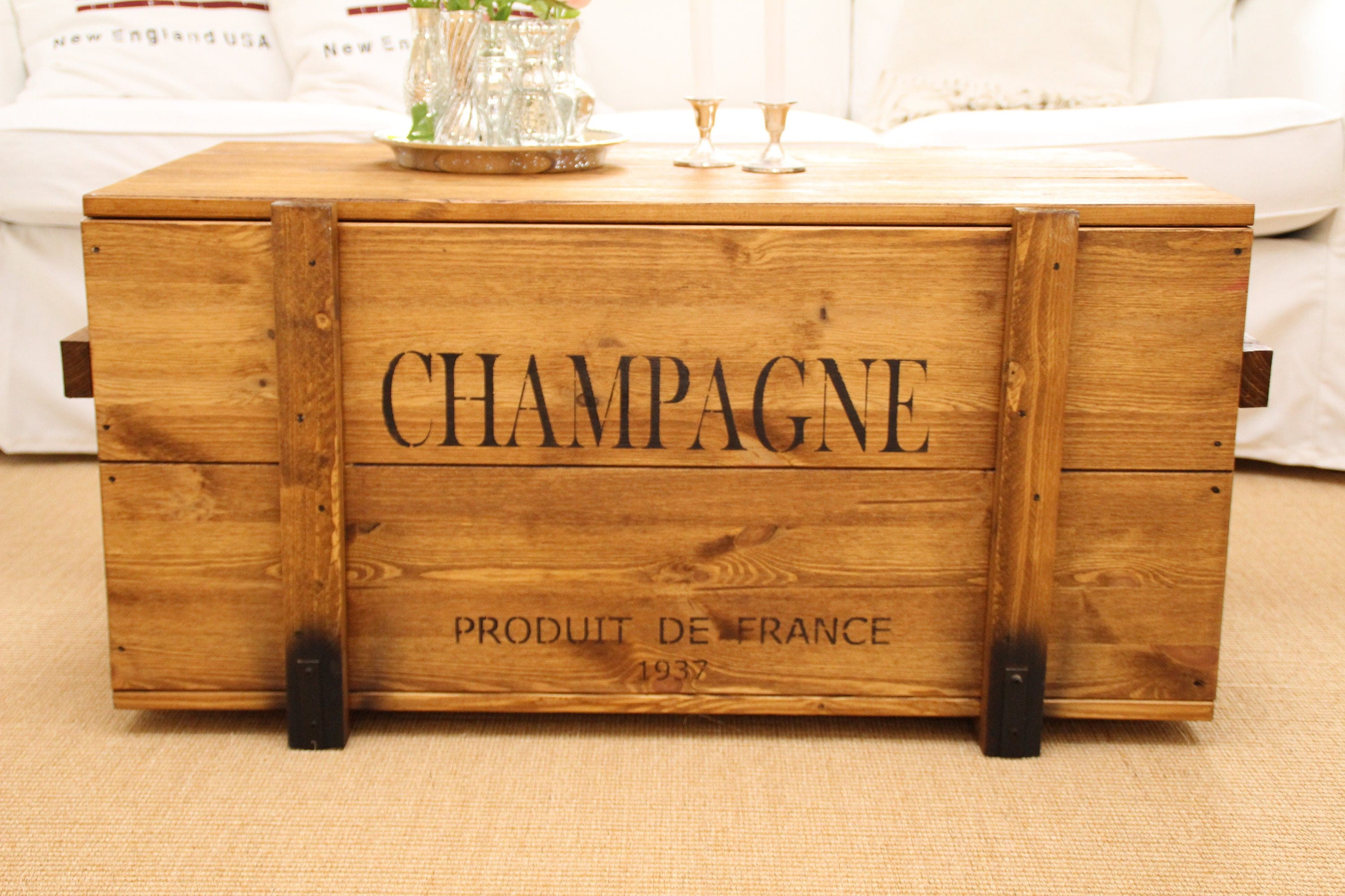 Chest cargo crate champagne coffee table wood box zoom geotapseo Gallery