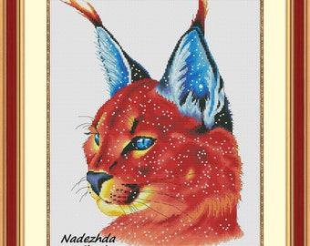 Space lynx Cross Stitch Pattern Animal pattern Modern cross stitch pattern PDF Embroidery room wall decor