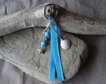 Door keys or bag blue shell charm
