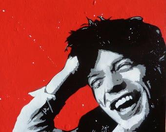street art, Mick Jagger stencil painting