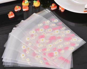 10 sachets bags pouches plastic self-adhesive 13x7.8cm flower
