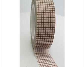 Washi tape (washi) - Brown grid