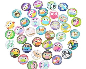 10 in 20 mm OWL glass cabochons