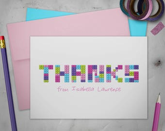 Personalized Stationery Thank You Cards Set with Envelopes | Lego Friends