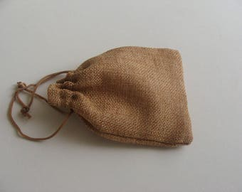 1 lot of 100 wrappers gift jewelry pouch 13 * 9.5 cm Brown burlap