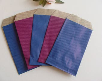 1 set of 20 gift wrapping jewelry blue purple 7 * 12 cm bottom Brown kraft paper bag