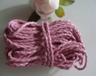 Pink genuine leather woven braided 3 mm diameter cord