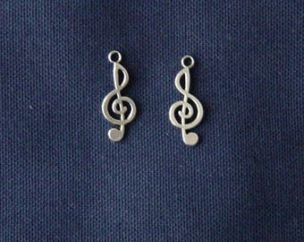 Treble clef charms 2 silver metal