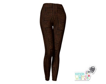 Tribal Pattern Leggings - dark brown ladies' leggings with an African tribal pattern - US womens' sizes XS, S, M, L, and XL