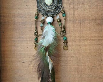 Bronze necklace with feathers and gemstones