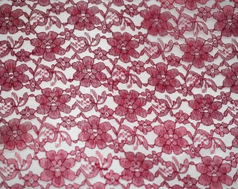 "60"" Wide - BURGUNDY Lace Fabric - Floral Raschelle Lace - By The Yard"
