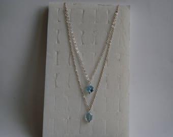 Necklace 925 Silver and aquamarine Swarovski elements