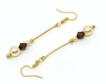 Gold Earrings, Drop Earrings, Pearly Sparkle and Gold Plated Earrings, Simple Earrings, Pearly Earrings