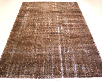 """Vintage Overdyed Turkish Rug, Handmade, Brown, 7 feet 1 inches by 10 feet 3 inches (7'1""""x10'3"""")"""