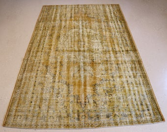 """Vintage Overdyed Turkish Rug, Handmade, Yellow, 6 feet 0 inches by 10 feet 0 inches (5'0""""x10'0"""")"""