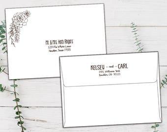 Wedding Envelope with Guest Addresses, Addressed Wedding Envelopes