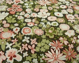 fabric green & pink flowers cotton