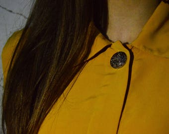 Vintage Yellow Blouse with Button Detail