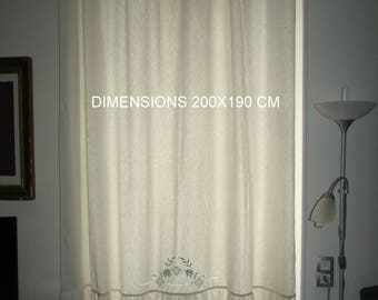 CURTAIN made from an old cloth embroidered french antic linen curtain embroidered
