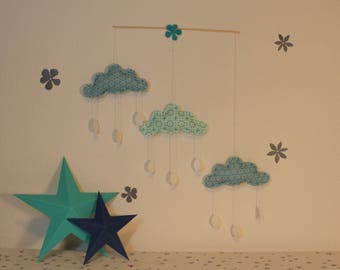Mobile for wall decor in shades of blue