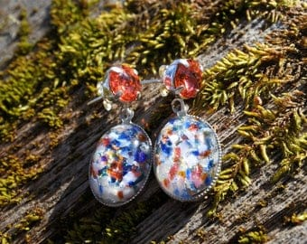 Silver crystal earrings swarovski and glass cabochon