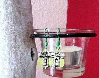 """""""Leaf"""" colorful leaf bead and knot earrings"""