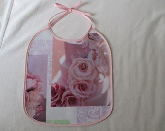 Original oilcloth bib printed with pink rose