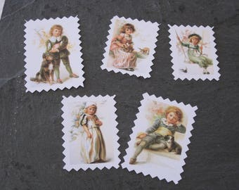 Set of 5 frames, small stamps, embellishments, tags, scrapbooking, vintage, retro, girl, boy