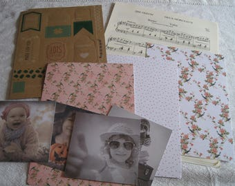 paper sheet music note, children, birds, label