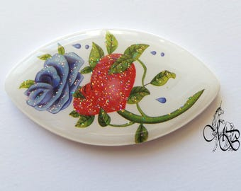 "Oval flat cabochon 50 X 28 mm retsina in polymer clay ""Flowers"""