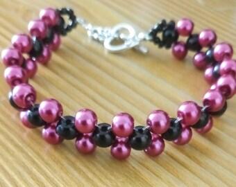 Pink and black - beaded bracelet women bracelet - style machete woman bracelet - woman bracelet beaded women - women jewelry