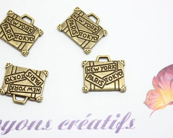 10 charms Charm Bronze bag NEW YORK PARIS TOKYO 16x14mm-jewelry - SC0080931 - creation