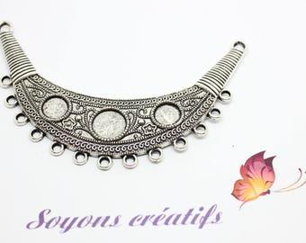 1 bib connector Moon silver 8-10mm - SC04865 - design - jewelry cabochon