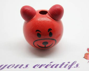 Wood bead head Pooh 27-28mm - SC75809 - Red