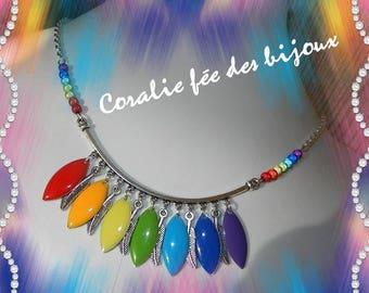 Necklace Rainbow rainbow feathers