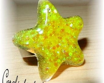 Adjustable ring Star Spangled resin Crystal yellow tones