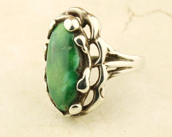 Sterling Silver and Malachite Ring Size 6 1/4, Green Ring, Silver Jewelry