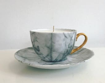teacup candle // Marble and metalic //Table Decor // Wedding favours // Soy wax