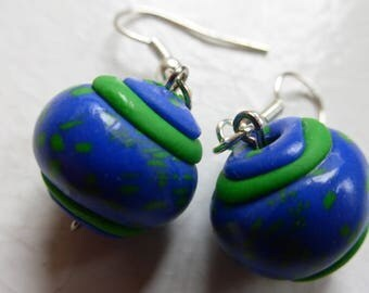 Earrings small round blue green patterns