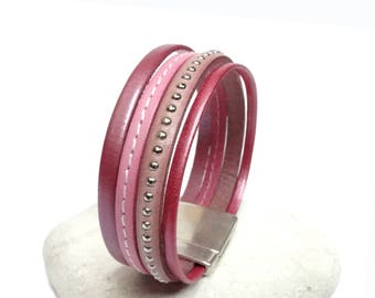 Pink leather Cuff Bracelet 1 round magnetic clasp
